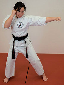 student practicing martial arts moves